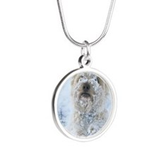 Cairn Terrier Dog, standing, Silver Round Necklace