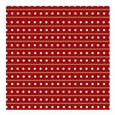"""Red Brown Dots/ Stri Square Car Magnet 3"""" x 3"""""""