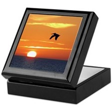 Pelican flying into orange sunset Keepsake Box
