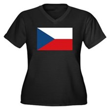Czech Republic Flag Women's Plus Size V-Neck Dark
