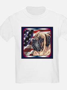 Mastiff Dog Patriotic USA Flag Kids T-Shirt