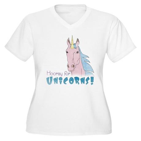 Hooray for Unicorns Women's Plus Size V-Neck Tee