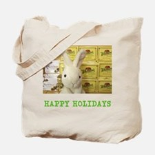 HAPPY HOLIDAYS RUSSELL/ WHITMAN RABBIT. Tote Bag