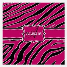 Fun Zebra Pattern Monogram Invitations
