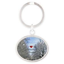 I Love My Wonderful Husband - Winter Oval Keychain
