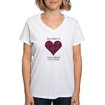 Heart-MacCulloch.MacCulloug Women's V-Neck T-Shirt