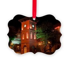 Buildings and church at night Ornament