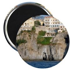 Houses on mountain cliff Magnet