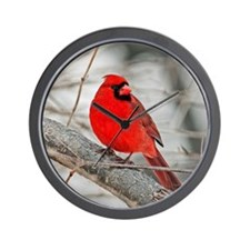 Cardinal in winter Wall Clock