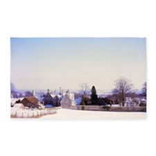 Fields in Snow, Monkton Farleigh, W 3'x5' Area Rug