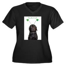 Irish lab Women's Plus Size V-Neck Dark T-Shirt