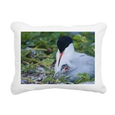 Roseate Tern with baby u Rectangular Canvas Pillow
