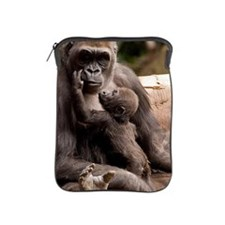 Baby gorilla kisses his mother iPad Sleeve