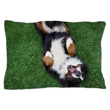 Dog sleeping and yawning on grass Pillow Case
