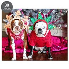 Boston terriers in Christmas costumes Puzzle