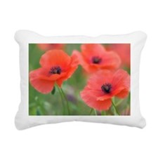 Red Poppy Flowers Rectangular Canvas Pillow