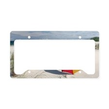 Colorful Umbrella on Beach at License Plate Holder