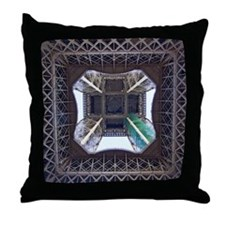View from underneath Eiffel Tower Throw Pillow
