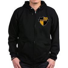 Rugby Shield Black Gold Zip Hoodie