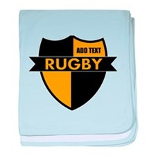 Rugby Shield Black Gold baby blanket