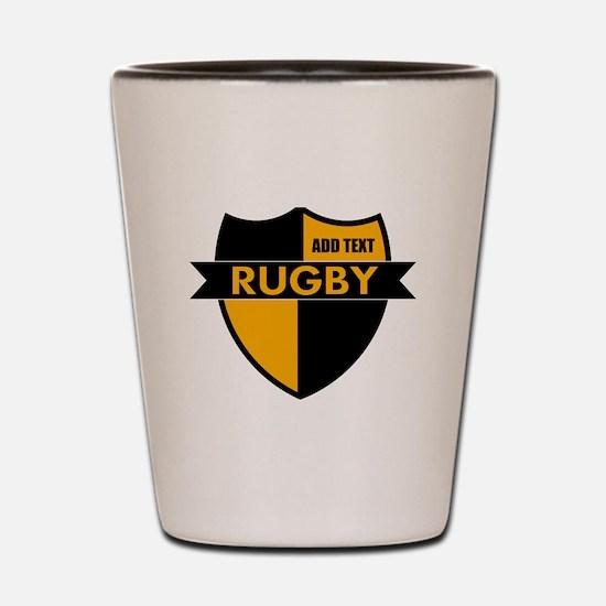 Rugby Shield Black Gold Shot Glass