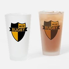 Rugby Shield Black Gold Drinking Glass