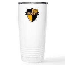 Rugby Shield Black Gold Travel Mug