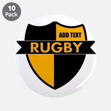 """Rugby Shield Black Gold 3.5"""" Button (10 pack)"""