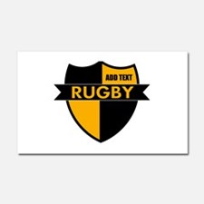 Rugby Shield Black Gold Car Magnet 20 x 12