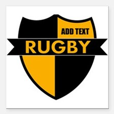 """Rugby Shield Black Gold Square Car Magnet 3"""" x 3"""""""