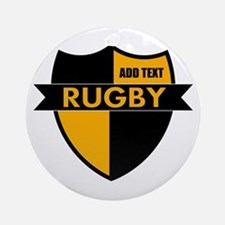 Rugby Shield Black Gold Ornament (Round)