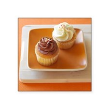 "Frosted Cupcakes on Orange  Square Sticker 3"" x 3"""