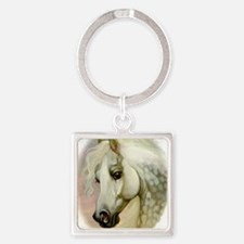 Dapple Grey Arabian Horse Square Keychain