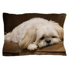 Dog laying on couch Pillow Case