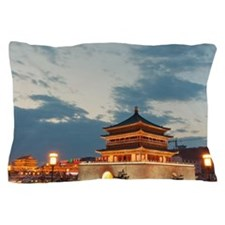 Night view of Bell Tower in Xian, Chin Pillow Case