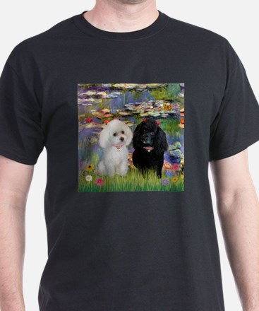 2 Poodles in Monet's Lilies T-Shirt