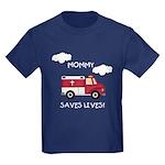EMT Mommy Saves Lives Kids Dark T-Shirt