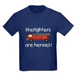 Firefighters Are Heroes Kids Dark T-Shirt