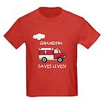 EMT Grandma Saves Lives Kids Dark T-Shirt