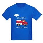 EMT Grandpa Saves Lives Kids Dark T-Shirt