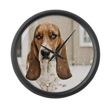 Basset hound in snow Large Wall Clock