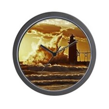 Waves crashing on lighthouse Wall Clock