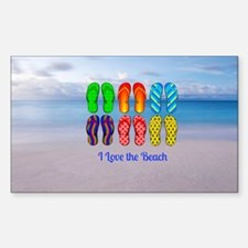 I Love the Beach - Colorful Fl Stickers