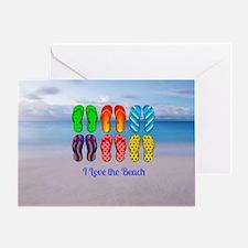I Love the Beach - Colorful Flip-Flo Greeting Card