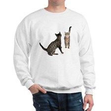 Two Mixed-breed cats looking at each Sweatshirt