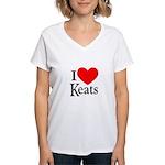 I Love Keats Women's V-Neck T-Shirt