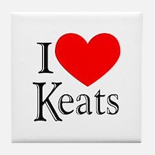 I Love Keats Tile Coaster
