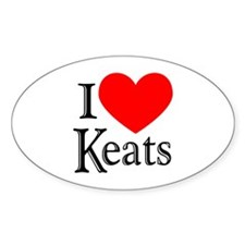 I Love Keats Oval Decal