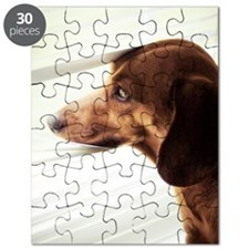Daschund dog looking out window Puzzle