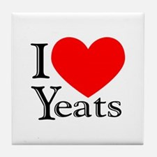 I Love Yeats Tile Coaster